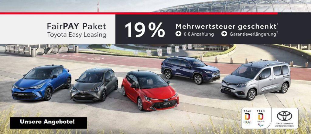 Toyota Team Deutschland Sondermodelle mit FairPay Angebot beim Autohaus Metzger