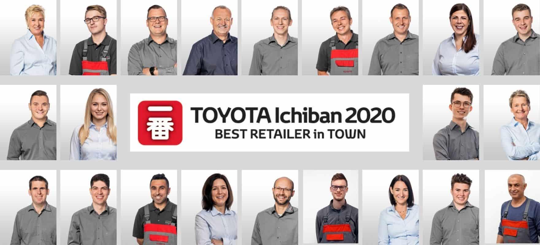 Team Toyota Metzger mit der Auszeichnung als bester deutscher Toyota Haendler Ichiban 2020
